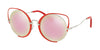 Miu Miu CORE COLLECTION MU51TS Irregular Sunglasses  45J5L2-RED 54-22-145 - Color Map red