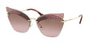Miu Miu SPECIAL PROJECT MU56TS Irregular Sunglasses  KI45P1-DARK PINK TRANSPARENT 63-16-145 - Color Map brown