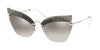 Miu Miu SPECIAL PROJECT MU56TS Irregular Sunglasses  KJH5O0-TRANSPARENT GREY 63-16-145 - Color Map grey