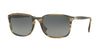 Persol PO3158S Rectangle Sunglasses  104971-STRIPPED BROWN GREY 56-19-145 - Color Map havana