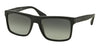 Prada PR01SSF Rectangle Sunglasses  SL32D0-BRUSHED MATTE BLACK 57-18-145 - Color Map black