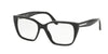 Prada PR08TVF Square Eyeglasses  1AB1O1-BLACK 53-16-140 - Color Map black