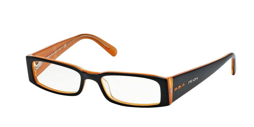Prada PR10FV Rectangle Eyeglasses  2BX1O1-TOP BLACK ON ORANGE 53-16-135 - Color Map black