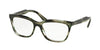 Prada JOURNAL PR24SV Cat Eye Eyeglasses  UEP1O1-STRIPED GREY GREEN 53-16-140 - Color Map yellow