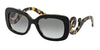 Prada MINIMAL BAROQUE PR27OS Rectangle Sunglasses  NAI0A7-TOP BLACK/MEDIUM HAVANA 54-19-135 - Color Map black