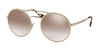 Prada CATWALK PR51SS Round Sunglasses  UFH4O0-SILVER 54-22-135 - Color Map light brown