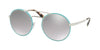 Prada CATWALK PR51SS Round Sunglasses  VHT1A0-SILVER/AZURE 54-22-135 - Color Map light blue