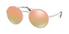 Prada CATWALK PR51SS Round Sunglasses  VHU5L2-SILVER/PINK 54-22-135 - Color Map pink