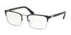 Prada HERITAGE PR54TV Rectangle Eyeglasses  1AB1O1-BLACK/GUNMETAL 57-19-150 - Color Map black