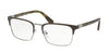Prada HERITAGE PR54TV Rectangle Eyeglasses  U6C1O1-GREY/GUNMETAL 55-19-140 - Color Map grey
