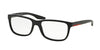 Prada Linea Rossa PS02GV Rectangle Eyeglasses  UB71O1-GLOSS BLACK GRADIENT MATTE 56-17-145 - Color Map black