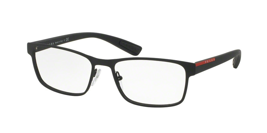 Prada Linea Rossa LIFESTYLE PS50GV Rectangle Eyeglasses  DG01O1-BLACK RUBBER 53-17-140 - Color Map black