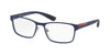 Prada Linea Rossa LIFESTYLE PS50GV Rectangle Eyeglasses  TFY1O1-BLUE RUBBER 55-17-140 - Color Map blue