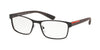 Prada Linea Rossa LIFESTYLE PS50GV Rectangle Eyeglasses  VYY1O1-BROWN RUBBER 55-17-140 - Color Map brown