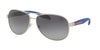 Prada Linea Rossa LIFESTYLE PS53PS Pilot Sunglasses  QFP5W1-SILVER RUBBER 62-14-135 - Color Map silver