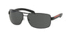 Prada Linea Rossa PS54IS Rectangle Sunglasses  1BO1A1-MATTE BLACK+BLACK RUBB. 65-14-125 - Color Map black
