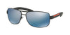 Prada Linea Rossa PS54IS Rectangle Sunglasses  DG02E0-BLACK RUBBER 65-14-125 - Color Map black