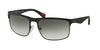 Prada Linea Rossa PS56PS Rectangle Sunglasses  DG00A7-BLACK RUBBER 60-18-135 - Color Map black