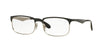 Ray-Ban Optical RX6361 Rectangle Eyeglasses  2861-TOP SHINY BLACK ON SILVER 54-17-145 - Color Map black