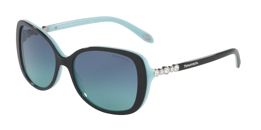 Tiffany TF4121B Rectangle Sunglasses  80559S-BLACK/BLUE 55-16-140 - Color Map black