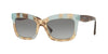 Valentino VA4024A Rectangle Sunglasses  506111-LIGHT HAVANA INSERTS AQUAMARIN 52-19-140 - Color Map light blue