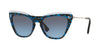 Valentino VA4043 Cat Eye Sunglasses  51068F-TRANSPARENT AZURE/HAVANA BLU 52-19-140 - Color Map blue