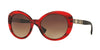Versace VE4318A Oval Sunglasses  520313-TRANSPARENTE STRIPED RED 55-20-140 - Color Map red