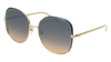 GUCCI GG0400S ROUND / OVAL Sunglasses For Women  GG0400S-006 GOLD GOLD / MULTICOLOR BLUE 58-18-140