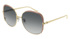 GUCCI GG0400S ROUND / OVAL Sunglasses For Women  GG0400S-001 GOLD GOLD / GREY PINK 58-18-140