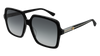GUCCI GG0375S RECTANGULAR / SQUARE Sunglasses For Women  GG0375S-001 BLACK BLACK / GREY SHINY 56-16-140