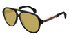 GUCCI GG0463S AVIATOR Sunglasses For Men  GG0463S-001 BLACK WHITE / YELLOW SHINY 58-13-150