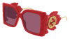 GUCCI GG0535S RECTANGULAR / SQUARE Sunglasses For Women  GG0535S-005 RED RED / VIOLET SHINY 56-16-135
