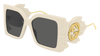 GUCCI GG0535S RECTANGULAR / SQUARE Sunglasses For Women  GG0535S-002 IVORY IVORY / GREY SHINY 56-16-135