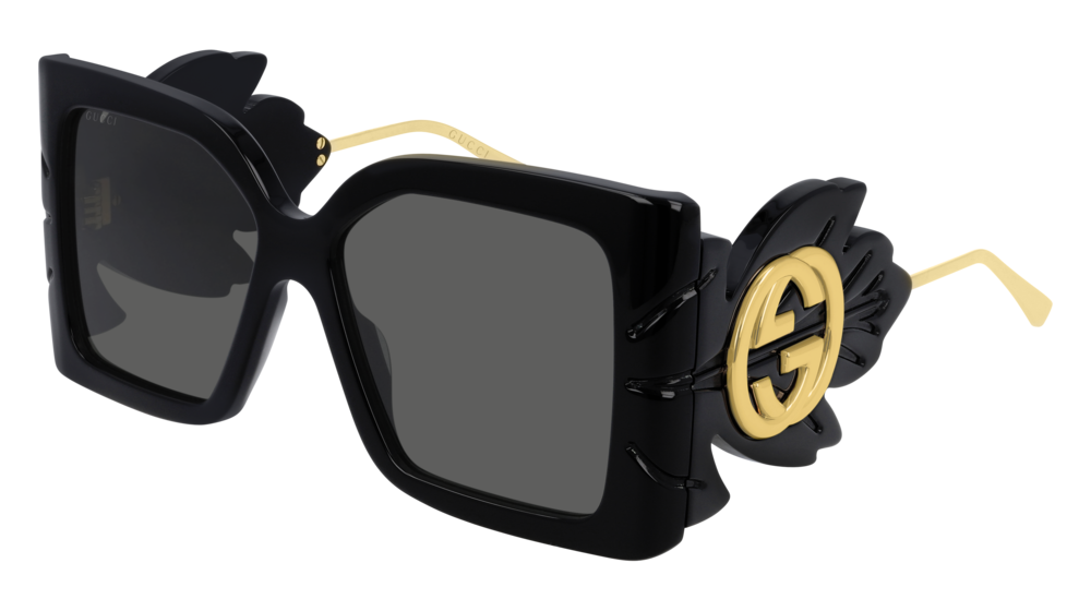 GUCCI GG0535S RECTANGULAR / SQUARE Sunglasses For Women  GG0535S-001 BLACK BLACK / GREY SHINY 56-16-135