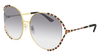 GUCCI GG0595S ROUND / OVAL Sunglasses For Women  GG0595S-006 GOLD GOLD / GREY GOLD 64-17-135