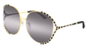 GUCCI GG0595S ROUND / OVAL Sunglasses For Women  GG0595S-005 GOLD BLACK / GREY GOLD 64-17-135