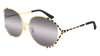 GUCCI GG0595S ROUND / OVAL Sunglasses For Women  GG0595S-001 GOLD BLACK / GREY GOLD 59-17-135