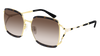 GUCCI GG0593SK RECTANGULAR / SQUARE Sunglasses For Women  GG0593SK-002 HAVANA GOLD / BROWN GOLD 59-17-135
