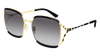 GUCCI GG0593SK RECTANGULAR / SQUARE Sunglasses For Women  GG0593SK-001 BLACK BLACK / GREY GOLD 59-17-135