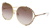 GUCCI GG0595S ROUND / OVAL Sunglasses For Women  GG0595S-009 GOLD BLACK / BROWN SHINY 64-17-135