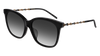GUCCI GG0655SA RECTANGULAR / SQUARE Sunglasses For Women  GG0655SA-001 BLACK GOLD / GREY SHINY 56-17-150