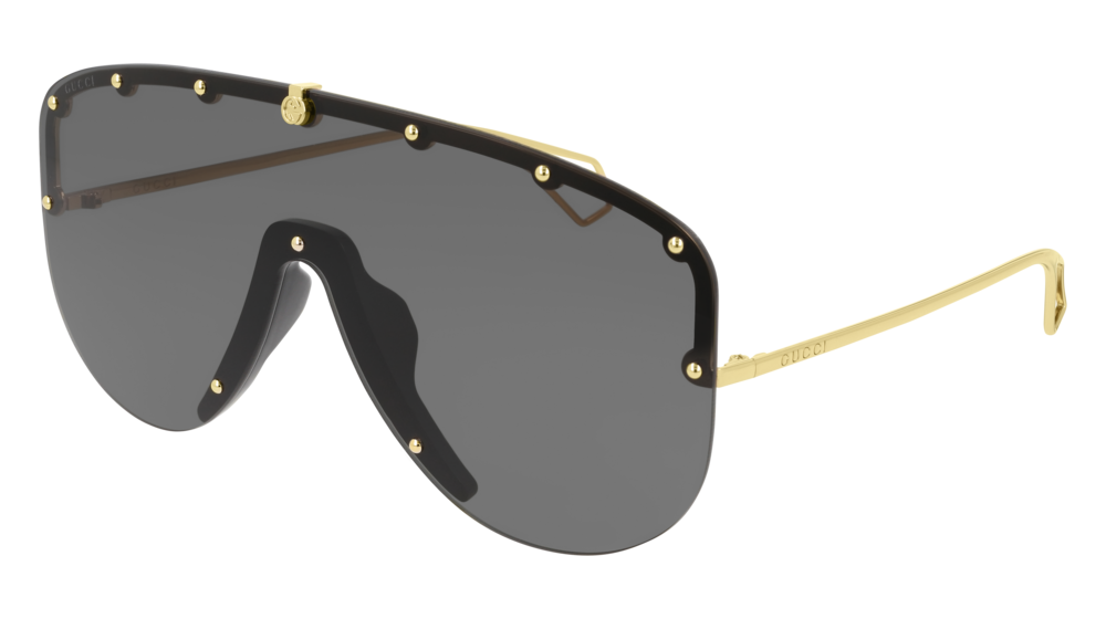 GUCCI GG0667S MASK Sunglasses For Men  GG0667S-001 GOLD GOLD / GREY SHINY 99-1-140