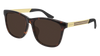 GUCCI GG0695SA RECTANGULAR / SQUARE Sunglasses For Men  GG0695SA-002 HAVANA GOLD / BROWN DARK 56-17-145