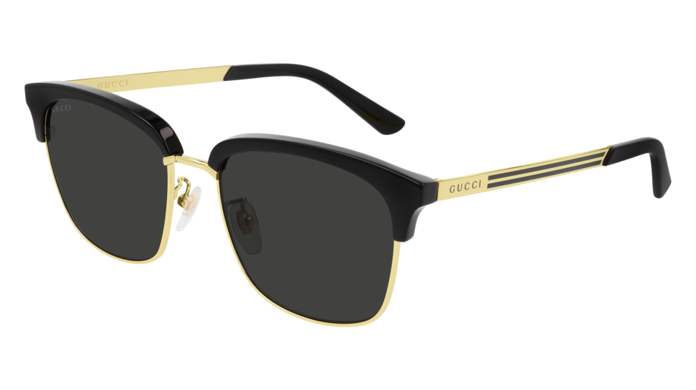 GUCCI GG0697S RECTANGULAR / SQUARE Sunglasses For Men  GG0697S-001 BLACK GOLD / GREY GOLD 55-18-145