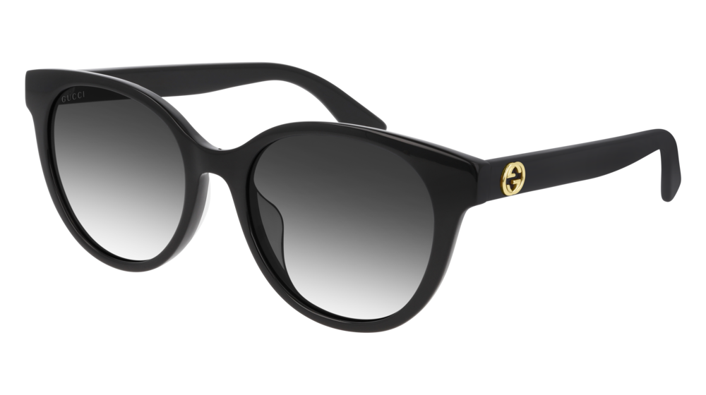 GUCCI GG0702SK ROUND / OVAL Sunglasses For Women  GG0702SK-001 BLACK BLACK / GREY SHINY 54-19-145