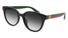 GUCCI GG0702SK ROUND / OVAL Sunglasses For Women  GG0702SK-004 BLACK GREEN / GREY SHINY 54-19-145