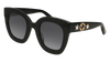 GUCCI GG0208S ROUND / OVAL Sunglasses For Women  GG0208S-001 BLACK BLACK / GREY SHINY 49-28-140
