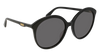 GUCCI GG0257S ROUND / OVAL Sunglasses For Women  GG0257S-001 BLACK BLACK / GREY SHINY 59-19-145