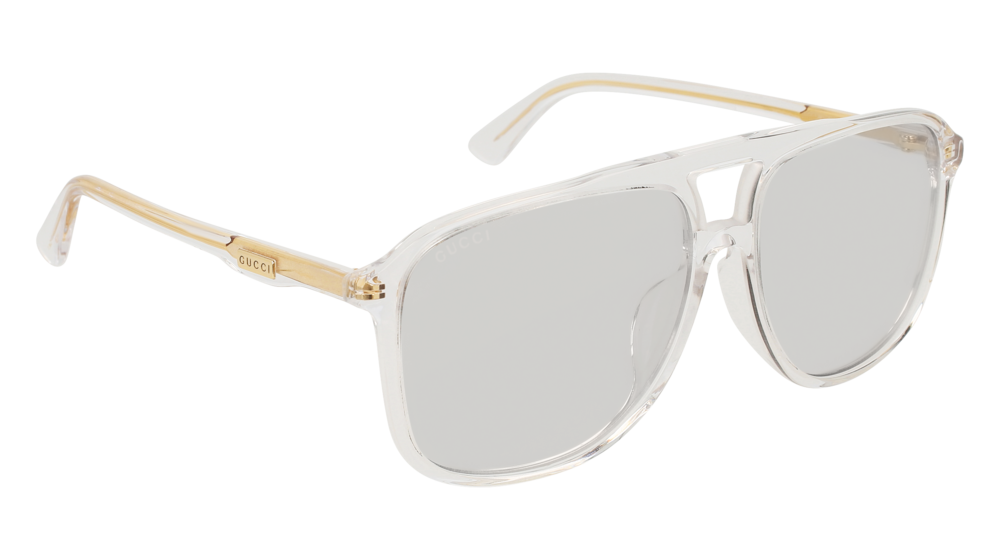 GUCCI GG0262SA RECTANGULAR / SQUARE Sunglasses For Men  GG0262SA-006 CRYSTAL CRYSTAL / GREY SHINY 60-15-150
