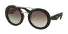 Prada ORNATE PR15SS Round Sunglasses  1AB0A7-BLACK 53-25-140 - Color Map black